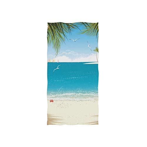 Alaza, toalla de microfibra para gimnasio, playa, palmeras, de secado rápido, para deportes, fitness, sudor, facial, 38,1 x 76,2 cm