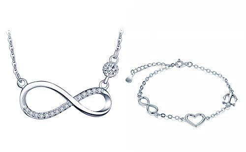Collar y pulsera de plata 925 para mujer, collar de símbolo de infinito, pulsera de corazón, conjuntos de joyas de diamantes plata, regalo de cumpleaños de Navidad