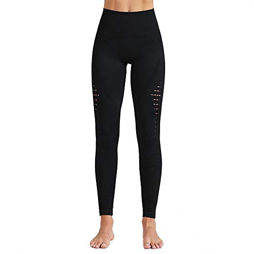 Specialofferkz Women's High-Waist Yoga Pants, Hollow Out Leggings,for Running Workout Control Waist Tummy Shapewear. negro M
