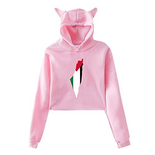 HJYR Drapeau Carte de Palestine Femmes Chat Oreille à Capuche Mignon à Manches Longues révélé Nombril Sweat-Shirts à Capuche, S-XXL