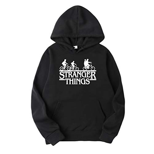 Yuanu Mens Womens Stranger Things Hoodies Sports Casual Long Sleeve Sweater Pullover Jumper Printing Velvet Lining Hip Hop Baggy Hooded Sweatshirt Black + White XL