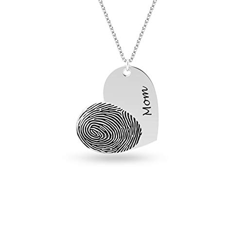 Personalized Customized Actual Fingerprint Engraved Memorial Necklace for Women Teen