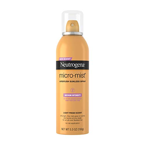 Neutrogena Micromist Airbrush Sunless Tanning Spray, Gradual Sunless Indoor Tanner with Witch Hazel, Alcohol-Free, Oil-Free & Non-Comedogenic Formula, Medium Intensity, 5.3 oz