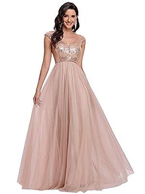 Alisapan Womens Elegant V Neck Short Sleeve Floor Length Bridesmaid Dress Rose Gold US6