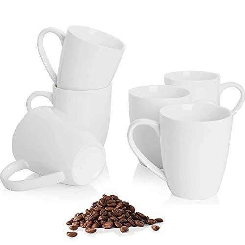 Coffee mugs set of 6 - 12oz Handle Porcelain cups For Coffee, Tea, Milk, Cocoa, Cereal,Ceramic Mugs...