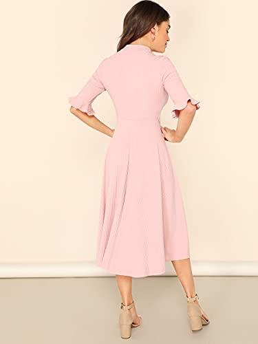 HAOYF Vestidos elegantes trajes de manga campana, vestido midi de punto acanalado, holgado, informal, elegante para mamelucos (color: rosa bebé, tamaño: M)