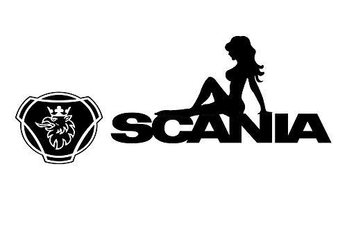 MS Car Sticker Sexy Girl Scania Aufkleber Version 2019 (schwarz Glanz, 17x7 cm)