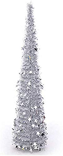 Artificial Christmas Tree Chubby Shiny Sequins Christmas Tree, Reusable Artificial Pencil Christmas Tree with Plastic Stand Office Classroom Party Decorations (Color : Silver, Size : 150cm(5 Feet))