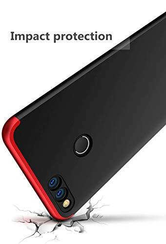 AILZH Huawei Honor 7X Hülle+Gehärteter Glas Folie 360 Grad HandyHülle PC Hartschale Anti-Schock Schutzhülle Anti-Kratz Stoßfänger Bumper 360° Cover Case matt Schutzkasten(Blau schwarz) - 4
