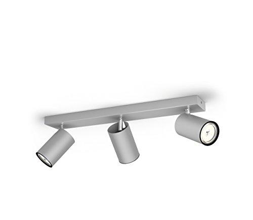 Philips Lighting Aluminium LED Spot Light Philips Faretto Kosipo con 3 Punti Luce, Alluminio, Attacco GU10, Lampadina Non Inclusa, Grigio, 7x44.3x9.2 cm