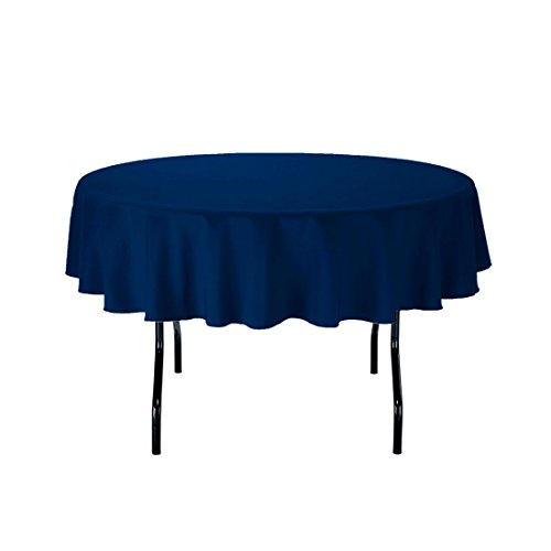 """Gee Di Moda Tablecloth - 70"""" Inch Round Tablecloths for Circular Table Cover in Navy Blue Washable Polyester - Great for Buffet Table, Parties, Holiday Dinner & More"""