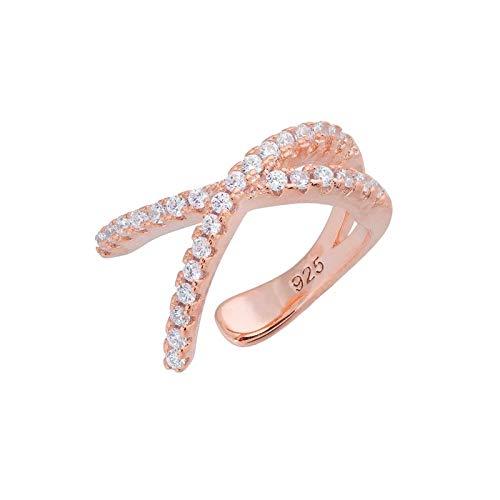 KGDUYH Pendientes de plata de ley 925 para mujer, diseño de cruz, no perforados, para mujer, pequeños pendientes de clip, joyería de cartílago para decoración (color de gema: oro rosa, 1 unidad).