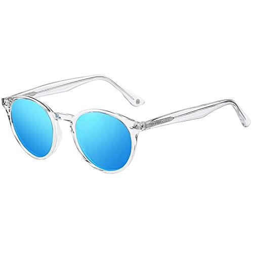 H HELMUT JUST Gafas de Sol para Hombre Mujer Redondas Polarizadas Vintage TR90 y Acetato Transparente Cristal Espejo Anti Reflejos