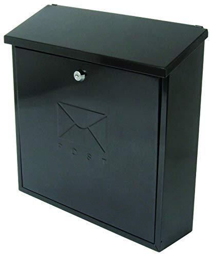 Sterling MB03BKR Briefkasten, Öffnung/ Klappe oben, mit Briefschlitz auf der Rückseite, Schwarz, 368 x 368 x 116mm