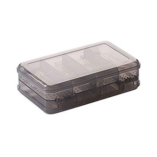 ZOUMOOL Caja de almacenamiento de 10 rejillas, de doble capa, de plástico, diseño simple con tapa, caja de almacenamiento para pendientes de escritorio