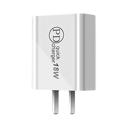Mothcattl Portátil EU/US Plug PD 18W Tipo-c Puerto Adaptador De Cargador USB De Carga Rápida Compatible con iPhone 11/12 Enchufe de EE. UU.