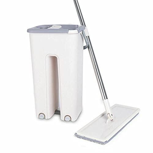 Kaibrite Juego de fregona y cubo de limpieza, cubo de limpieza con mopa y 10 almohadillas reutilizables, escurrir fácilmente para la limpieza del suelo.