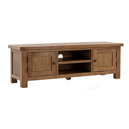 Roseland Furniture Zelah Oak 180cm Extra Large TV Cabinet Unit for Living Room Rustic Solid Wood Television Stand Media Entertainment Centre for Lounge, Bedroom | Fully Assembled