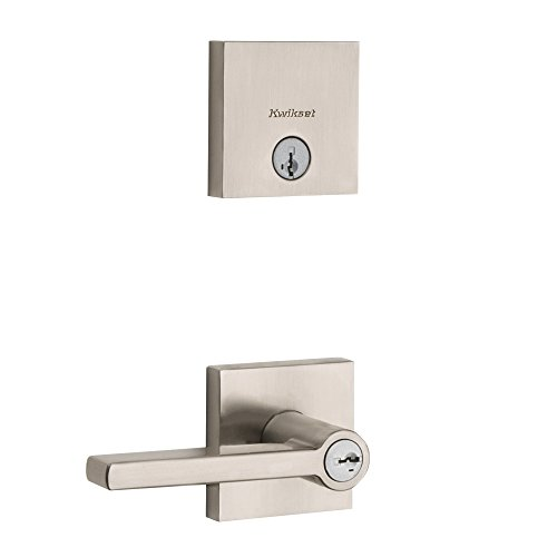 Kwikset 99910-060 Halifax Keyed Entry Lever and Downtown Single Cylinder Deadbolt Combo Pack featuring SmartKey Security in Satin Nickel
