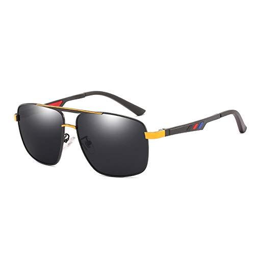 Fass Koco UV400 Herren Box Polarisierte Brille Nachtsicht Augen Farbfilm Driving Fishing Fashion Sonnenbrille (Color : Gold)