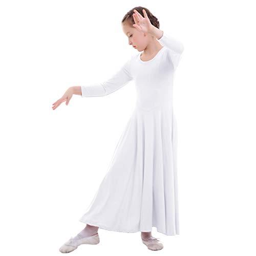 Vestidos Mujer Casual Litúrgico Manga Larga Leotardo Gimnasia Vestido de Ballet Flamenco Maillot Niña Blanco 13-14 Años