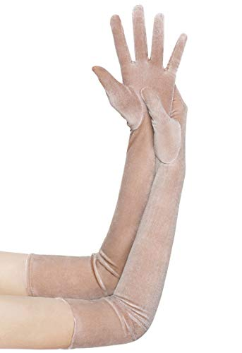 BABEYOND Long Opera Party Gloves 1920s Flapper Velvet Stretchy Elbow Gloves (Champagne)