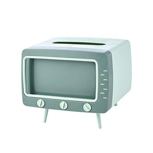 MagiDeal Creativo Soporte de Caja de pañuelos con Soporte de teléfono móvil diseño de TV Compatible con la mayoría de los teléfonos para el Dormitorio y el - Verde