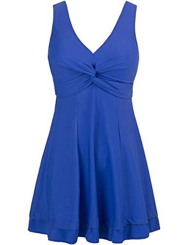 Wantdo Women's Plus Size Swimsuit Cover One Piece Swimwear Sapphire Blue US 12/14