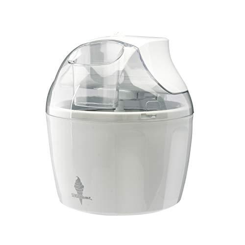 Máquina de helados Sensio Home - Máquina de sorbetes para helados Máquina de yogurt congelado Paleta mezcladora desmontable - Fácil de operar - Incluye recetas extra de libros electrónicos (Blanco)