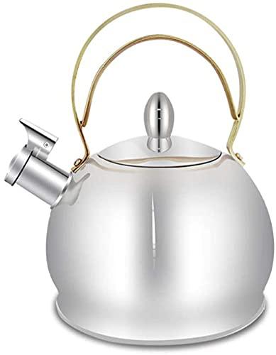 SUOMO Teteras para fogón Tetera de té for Estufa Top 3L Tetal de té de Acero Inoxidable Tetera de Silbato con Mango Resistente al Calor Adecuado for Todos los Tipos de Placa/Estufa