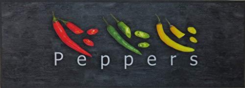 oKu-Tex Küchenläufer Peppers, Anthrazit Schwarz Motiv in rot, grün, gelb, Küchenteppich kurzflor, waschbar & rutschfest, 45 x 125 cm, dekorativ, Fußmatte Küche, 1440623, Chili/Peperoni