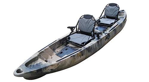 BKC TK122 Angler 12-Foot, 8 inch Tandem 2 or 3 Person Sit On Top Fishing Kayak w/Upright Aluminum Frame Seats and Paddles (Green Camo)