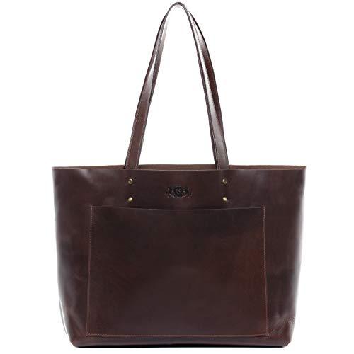 SID & VAIN Handtasche echt Leder Piper XL groß Ledertasche Henkeltasche Ledertasche Damen braun