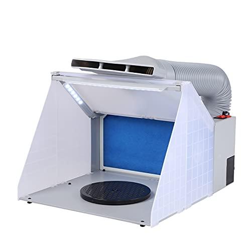 Kit de manguera para cabina de pintura Pintura Artesanía Extractor de olores Hobby Cabina de pintura portátil con luz LED Mesa giratoria Ventilador potente con extracción de filtro