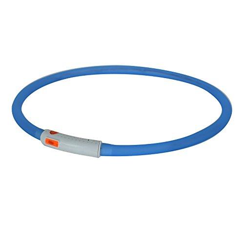 2-TECH LED Visio Leuchthalsband in BLAU Deluxe für Hunde und Katzen universell kürzbar, Halsumfang bis 55 cm