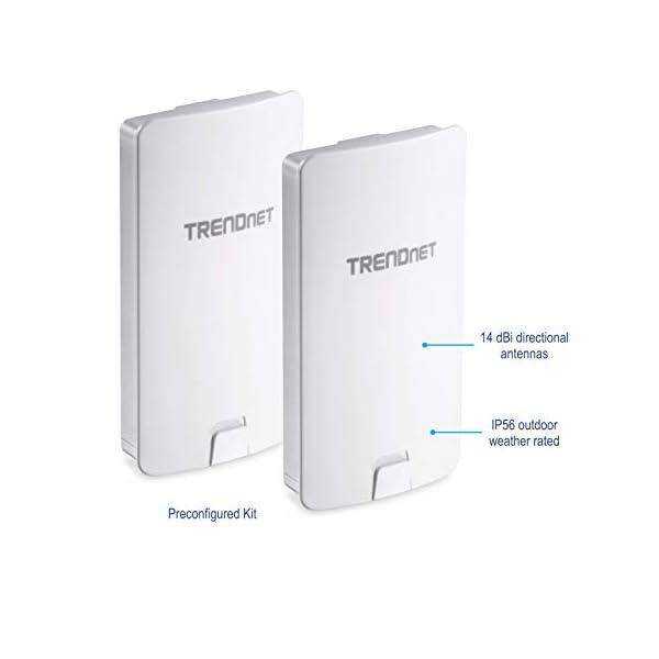 TRENDnet 14 DBI WiFi AC867 Outdoor Poe Preconfigured Point-to-Point Bridge Kit, 4 DBI Directional Antennas, for Point-to…