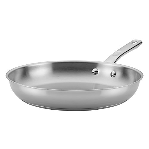 Ayesha Curry Home Collection Stainless Steel Frying Pan / Fry Pan / Skillet - 12.5 Inch, Silver