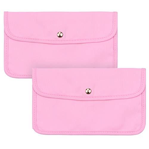 C100AE 2 bolsas de almacenamiento para máscara facial, portátil, a prueba de polvo, organizador de máscara de tela, lavable y reutilizable, bolsa impermeable para viajes o casa (rosa)