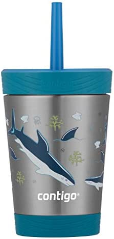 Contigo Spill Proof Tumbler with straw 12 Ounce Gummy Sharks product image