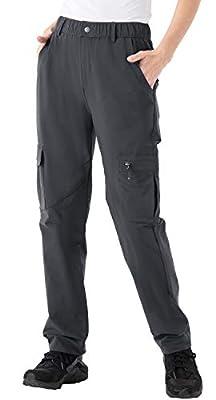 Rdruko Women's Outdoor Quick Dry Hiking Pants Lightweight Waterproof Climbing Camping Pants with Zipper Pockets Grey Large