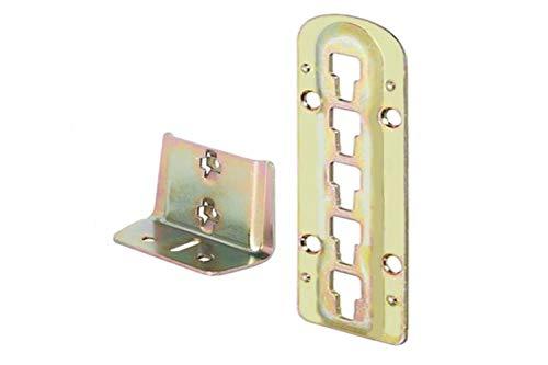 4 X Mprofi MT® Bettverbinder Bettbeschlag Einhängebeschlag höhenverstellbar für Lattenrostauflage und Mittelbalken Stahl Gelb Chromatiert Höhe 140 mm
