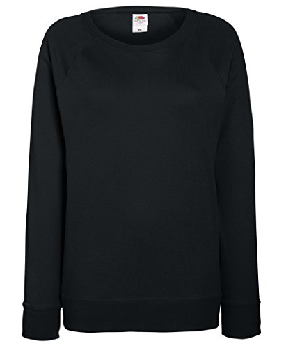 Fruit of the Loom leichtes Sweatshirt mit Raglanärmel, für Damen Gr. X-Large, schwarz