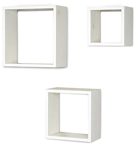 3er Set Cube Wandregal Regal 25cm 20cm 15cm Holz Ahorn Dekor Weiß Würfelregal Hängeregal Wanddeko Dekoregal