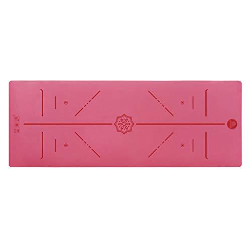 WYH Estera de yogat Prima TPE Yoga Estera del resbalón Superficies no texturizados con Correa y Bolsa, Mats Entrenamiento for el hogar (Color : Red)