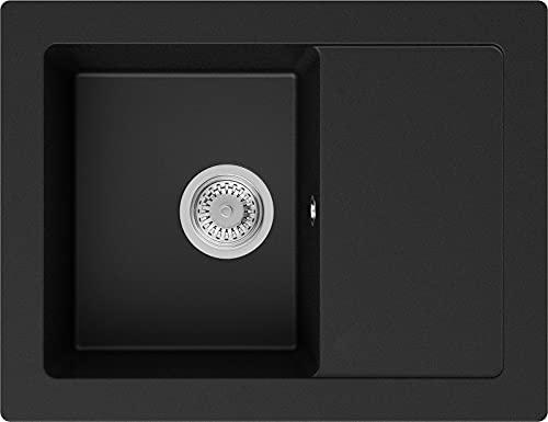 Spülbecken Schwarz 64 x 49 cm, Granitspüle + Siphon Klassisch, Küchenspüle ab 45er Unterschrank in 5 Farben mit Siphon und Antibakterielle Varianten, Einbauspüle von Primagran