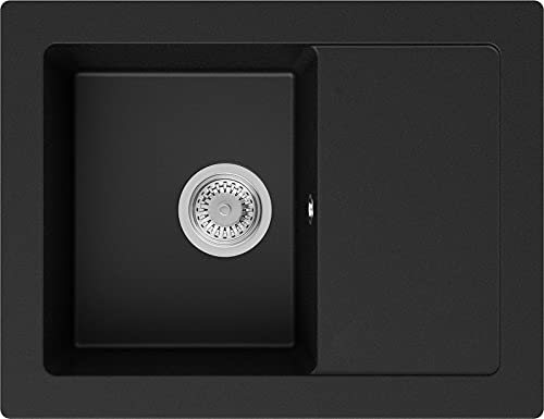 PRIMAGRAN Fregadero de Granito 64 x 49 cm, Lavabo Cocina Un Seno + Sifón Clásico, Fregadero Empotrado Ibiza, Negro
