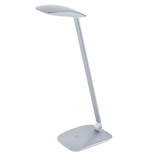 EGLO LED Tischlampe Cajero, 1 flammige Tischleuchte mit Touch, dimmbar, USB Lampe, Schreibtischlampe Modern, Minimalismus aus hochwertigem Kunststoff, Bürolampe in Silber