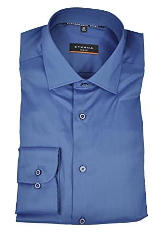 eterna Slim Fit Hemd Langarm New Kent Stretch Rauchblau Größe 41