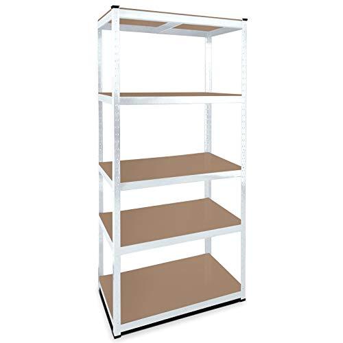 MIDORI© Verzinktes Lagerregal mit den Maßen 180 x 90 x 45 cm & einer Traglast von 875 kg | Stabile MDF Regalböden mit variabler Höhe & abgerundeten Kanten