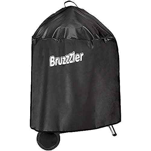 Bruzzzler 200100001065 Copertura per griglia a Sfera del Diametro Fino a 58 cm, per Barbecue Rotondo, Impermeabile, Bordo di Chiusura Rinforzato, Nero, 33 x 25 x 6 cm